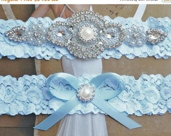 ON SALE Wedding Garter Set, Crystal Rhinestone Garter Set on a White Lace, Garter Set with Pearl & Rhinestone