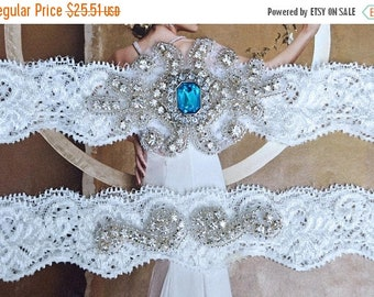 "ON SALE Vintage Wedding Garter Set with Blue ""Topaz"" stones and Rhinestones on Comfortable Off White  Lace, Crystal Garter Set"