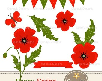 50% OFF Spring Poppy Flowers Clipart for Birthday, digital Scrapbooking, Wedding, Baptism