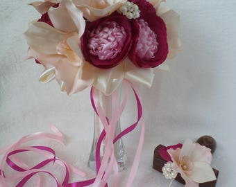 Orchella wedding bridal bouquet with handmade orchids peonies FREE SHIPPING