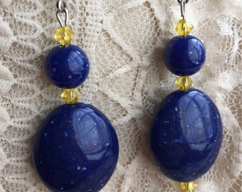 Lulu Final Fantasy X Simple Sunny Blue Leverback Earrings Cosplay FFX FF10 Final Fantasy 10