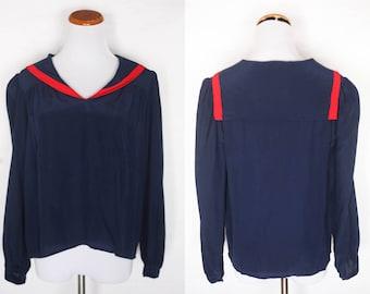 1970s sailor blouse, vintage sailor blouse, vintage 1980s sailor blouse, 1950s sailor dress, vintage silk blouse, vintage sailor top, 1980s