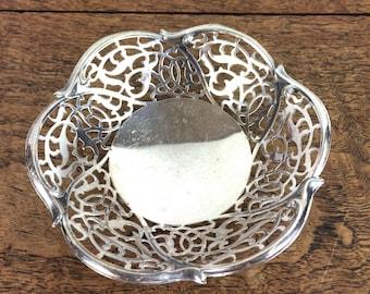 Decorative vintage silver plate trinket dish