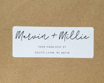 Custom return address label with calligraphy and modern text