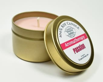 Passion Natural Soy Candle - 4 oz Soy Candle Tin, Hand Poured Soy Candles, Scented Soy Candles Handmade, Aromatherapy Candles