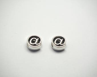 2 round beads @ with large hole 10mm silver metal