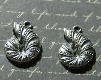 2 silver-plated 23x17mm sea snail charms
