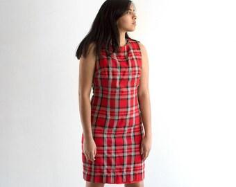 90s Plaid Clueless Dress / Red Mini Tartan Print Tank Top Dress / Medium-Large