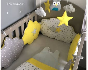 Round bed clouds in gray cotton stars white stars and yellow with stars