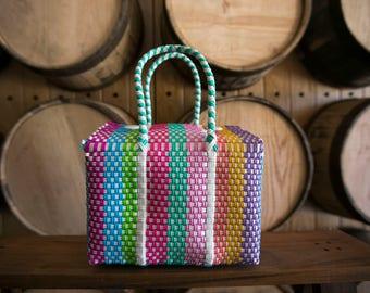 SMALL Oaxaca Bag, Woven Plastic Bag, Mexican Bag, Colorful Basket