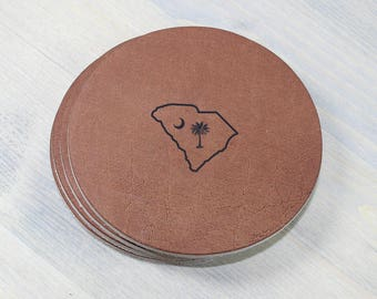 South Carolina Leather Coasters 4 Pack