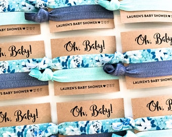Blue Floral Baby Shower Hair Tie Favors | Oh Baby! Boy Baby Shower, Blue Floral Hair Tie Favors, Boy Baby Shower Favors, Unique Shower Favor