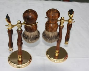 Wooden Shaving Set, Becote Wood, Hand-turned with gold accents