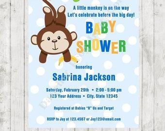 SALE Monkey Baby Shower Invitation - Custom Printed Baby Shower Invitation - by Dancing Frog Invitations