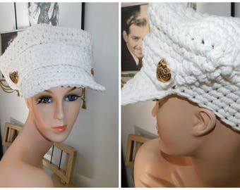Vintage Knitted 70s Womens Newsboy White Cabbie Cap Cabbie Hat Knitted Newsboy Hat