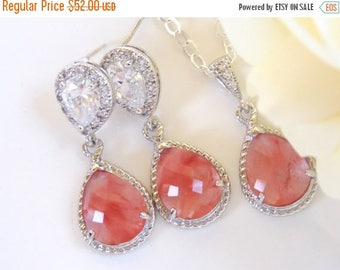 SALE Wedding Jewelry, Cubic Zirconia and Coral Earrings and Necklace, Sterling Silver, Bridesmaids Jewelry, Peach, Gapefruit, Gifts, Set, Da