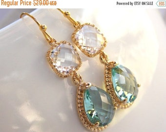 SALE Wedding Jewelry, Erinite and Clear Earrings,Aqua and Crystal,Blue and Clear,Bridesmaid Jewelry, Bridesmaids Gifts, Gifts, Dangle, Gold,