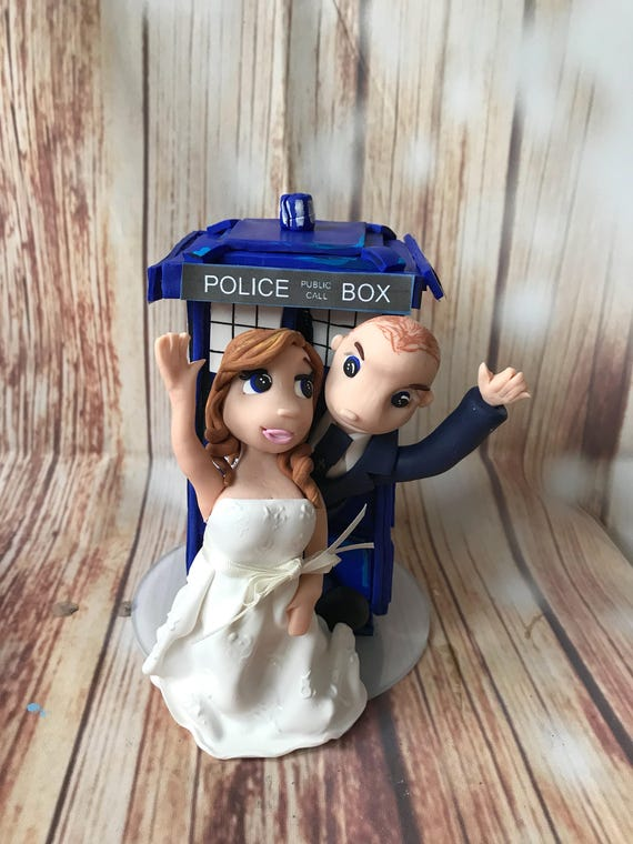 Wedding cake Topper dr who/ tardis theme - Fully Personalised a lovely keepsake - Bride and Groom/Same Sex/Wedding couple