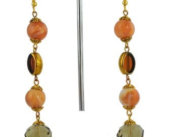 Earrings Brown and Orange Dangles – Warm and dreamy – one-off unique handcrafted – brown/orange/gold pierced earrings gold plated fittings