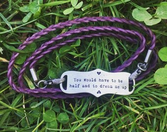 Braided Leather Bracelet With Alice in Wonderland Charm