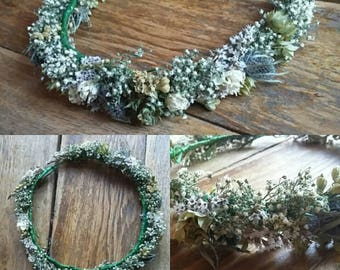 Beautiful Bespoke Handmade Floral Crown with thistle, Scottish, Flower Garland, Wedding Hair Piece, Bride, Bridal, Flowergirl, Halo, Circlet