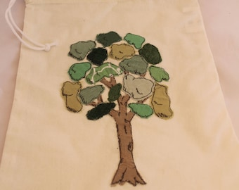 Original design, tree applique, draw string bag
