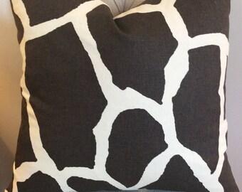 Handmade Decorative Pillow Cover - Brown Giraffe - Chocolate - Cream