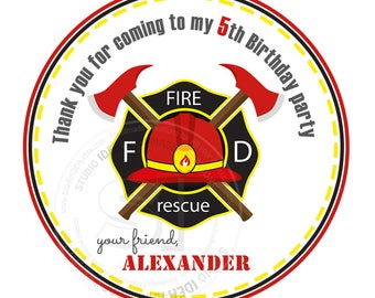 "Custom Fireman Badge Birthday Printable 2.5"" Tags- Firemen Party D.I.Y Thank you Tags-Stickers (You Print) 2.5"" tags-Digital file"
