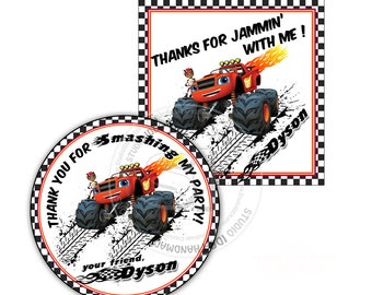 "Monster Truck Party Printable Custom Thank you Tag-DIY Digital File-Blaze Birthday Square or Circle 2.5"" Tags-You Print"