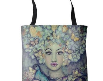 """L.E.Wearable Art Medium Tote Bag """"The Messenger"""" All over print tote printed painting lady artwork by Deborah Bowe"""