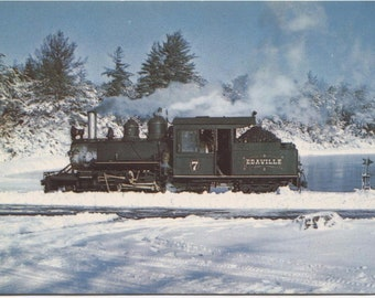 Edaville Railroad Engine No 7 South Carver Mass Train Vintage Postcard 029