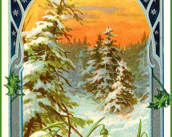 Edwardian Chromolithograph Postcard Art CHRISTMAS with Winter Snow and Holly DIGITAL DOWNLOAD