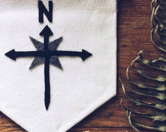 TRUE NORTH COMPASS wall banner