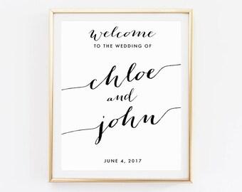 Bienvenue de mariage, mariage imprimable, signe de mariage en or, Bienvenue à notre mariage, le bricolage, le signe de mariage personnalisé, signe de mariage Bienvenue