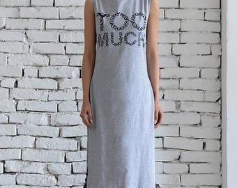 ON SALE Long Grey Loose Tunic/Loose Print Summer Top/Extravagant Slit Dress/Casual Long Top/Grey Oversize Tunic Dress/Sleeveless Kaftan