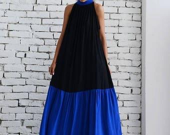 ON SALE Black Maxi Dress/Oversize Black And Blue Kaftan/Kaftan Maxi Dress/Long Loose Tunic/Sleeveless Dress/Casual Blue Collar Dress/Black D