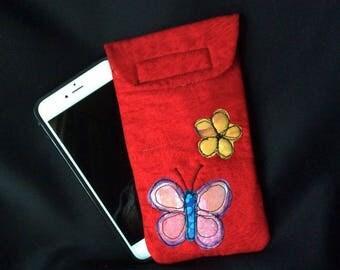 iPhone 6/7 Plus case, Smart phone case, padded batik fabric pouch, Gadget case. Large phone pouch, iPhone bag, eyeglass, iPhone 7 case 6P#28