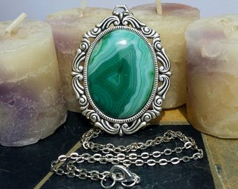 Green stripped agate gemstone necklace gemstone jewelry Victorian necklace victorian jewelry sterling silver plated brass gemstone pendant