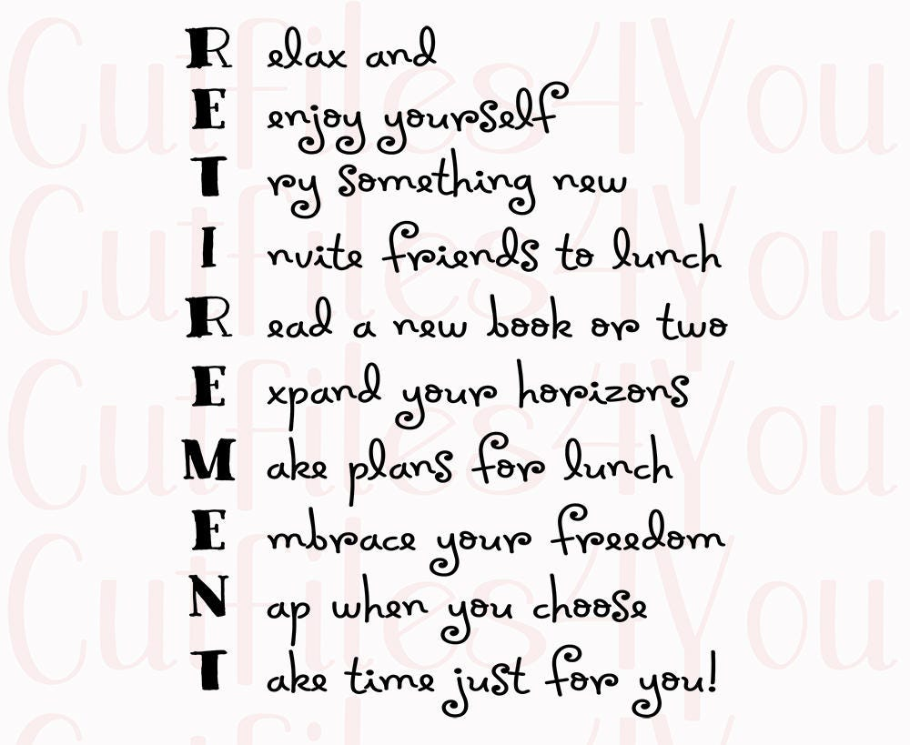 Retirement Acrostic Poem for retired SVG gift for coworker