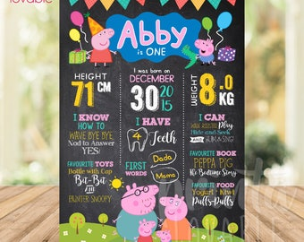 Print it yourself DIGITAL Peppa Pig Milestone, Peppa Pig Chalkboard, Peppa Pig Poster, Peppa Pig Party Decorations