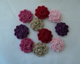 10 flowers SCRAPBOOKING crochet Roses