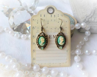 Victorian cameo green earrings