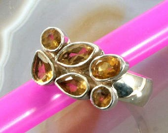 Citrine  and 925 Sterling Silver Ring  --  6272