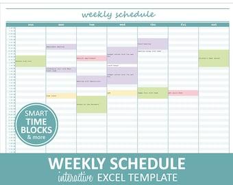 Elegant Weekly Schedule - Turquoise | Weekly Planner Printable | Excel Planner Template | Weekly Schedule | Instant Digital Download