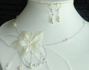 Silk Wedding Flower necklace
