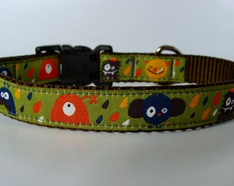 READY TO SHIP! Small Dog Little Monster Halloween Jacquard Dog Collar