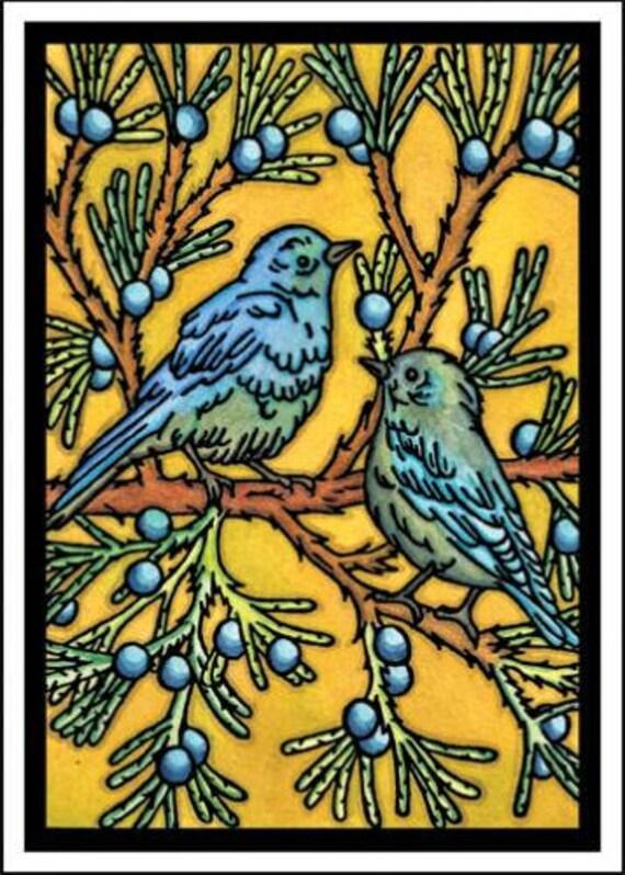 Blue Birds - Single Blank Sarah Angst Greeting Card - Outdoor Image