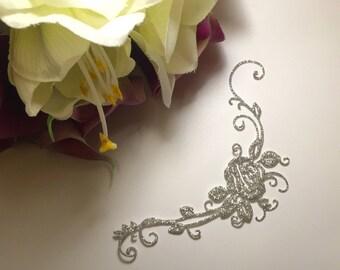 skin down silver sequin flower wedding jewelry