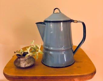 Blue enamelware pitcher