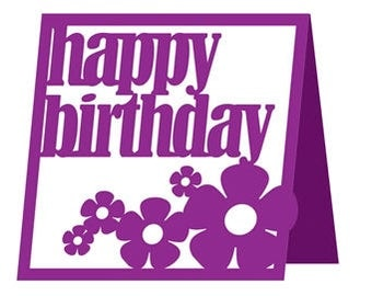 Happy Birthday Flower Card , Blank Inside , Blue , Yellow , Pink , Purple , PaperCut , Free Confetti , Men , Women , Kids , Teens